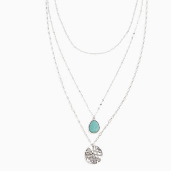 Silver-tone green stone and disk layered necklace